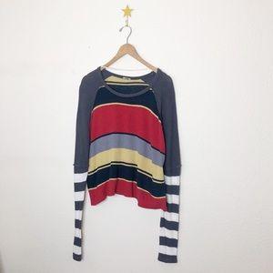 Free People   🐻 Striped Retro Sweater